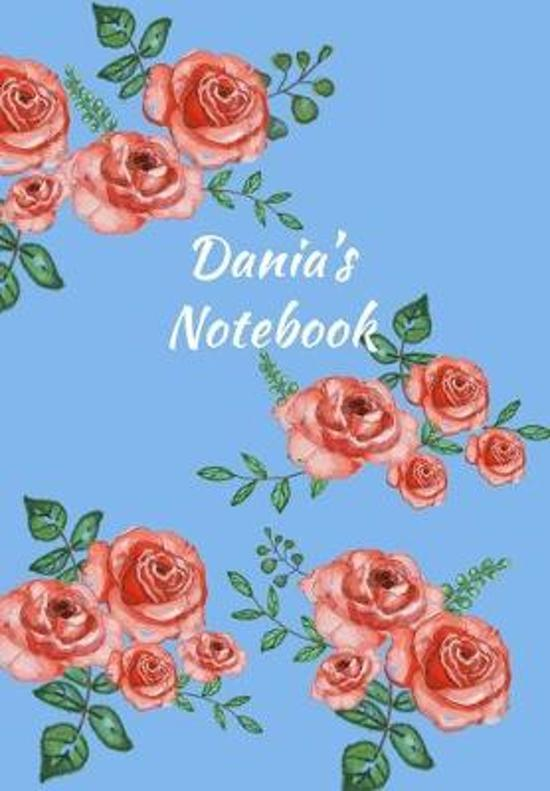 Dania's Notebook: Personalized Journal - Garden Flowers Pattern. Red Rose Blooms on Baby Blue Cover. Dot Grid Notebook for Notes, Journa