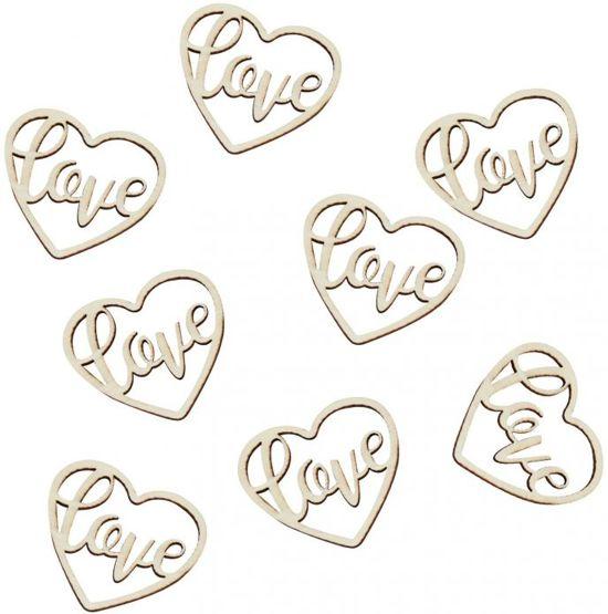 Confetti hout Love hart 24 stuks Valentinaa