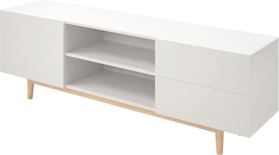 Witte Tv Meubel : Zwevend tv meubel toya van cm breed in hoogglans wit met kasten