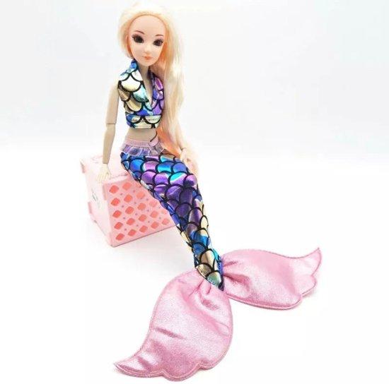 Barbiepop- zeemeermin kleding- Roze zeemeermin staart- Barbiepop speelgoed- Zeemeermin jurk- Verpakt- Bellasupplies