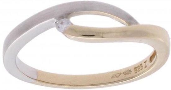 Verlinden Juwelier - Ring - Dames - geel en wit gouden met zirconia - maat 17 - 2,2 gram