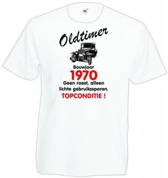 Mijncadeautje heren leeftijd T-shirt wit maat XL - Oldtimer Bouwjaar (geboortejaar) 1970