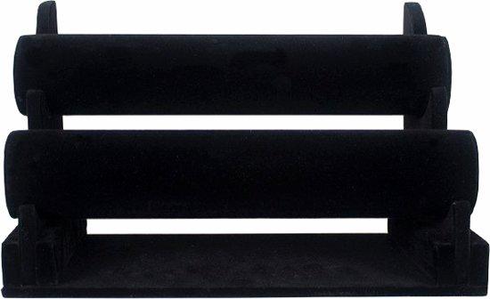 Armbanden display met 2 rollen zwart velours / sieraden display