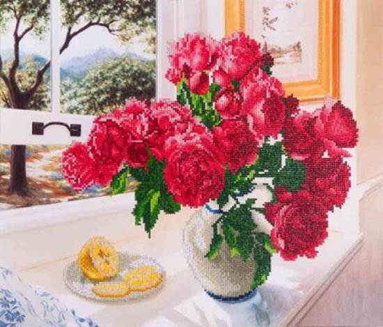 Diamond Painting Roses by the window