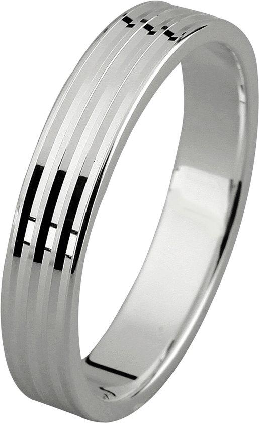 Dito relatiering - zilver - glanzend - bewerkt - strepen - vlak - 4 mm breed - maat 68