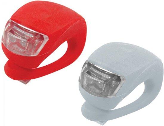 2 Fietslampjes - Fietslichtjes - Voorlicht en Achterlicht - Wit en Rood - Inclusief batterijen