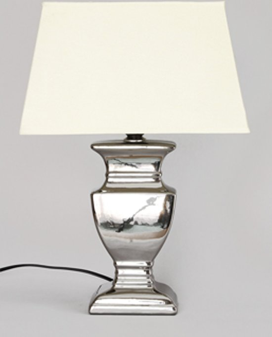 Tafellamp ''Amsterdam'' 61 cm Zilver met Creme kap