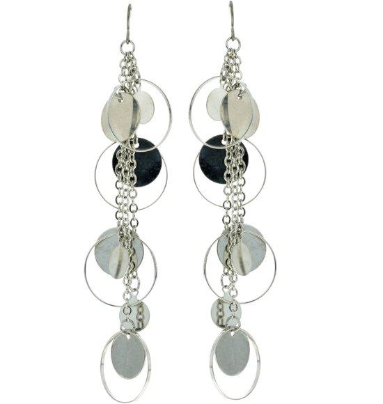 lange zilveren oorhangers