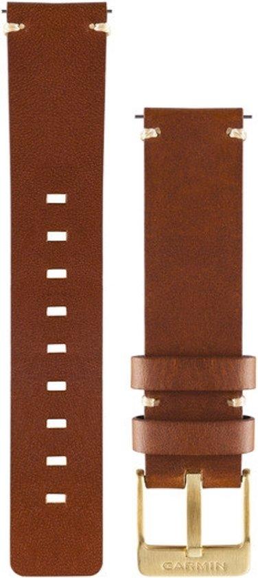 Quick release lederen polsband 20mm lichtbruin (goudkleurige gesp)