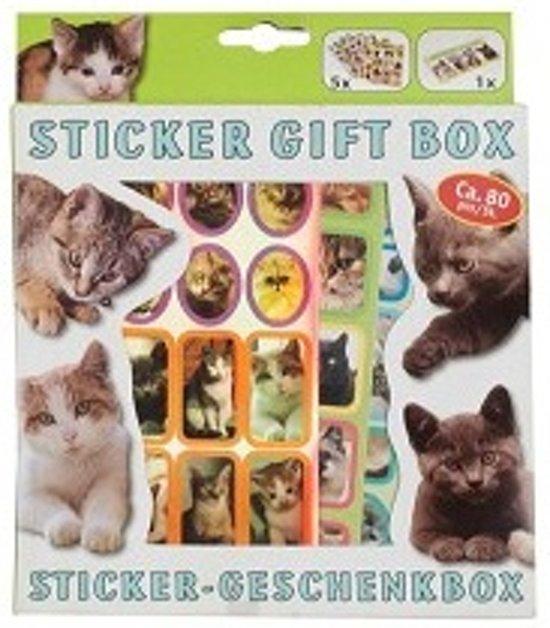Sticker gift box katten