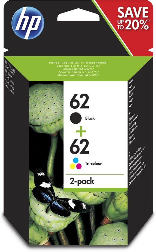 hp 62 inktcartridge zwart kleur 2 pack n9j71ae. Black Bedroom Furniture Sets. Home Design Ideas
