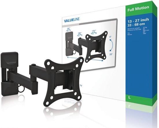 Valueline volledig beweegbare muurbeugel met 3 draaipunten voor TV's tot 27 inch