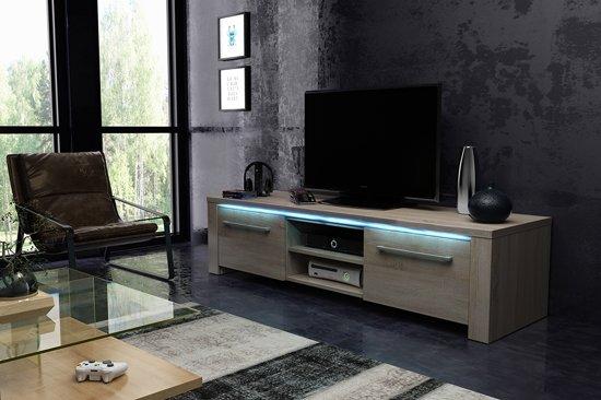 Tv Meubel Met Veel Bergruimte.Tvmeubel Hout Look Modern Design Inclusief Led Verlichting
