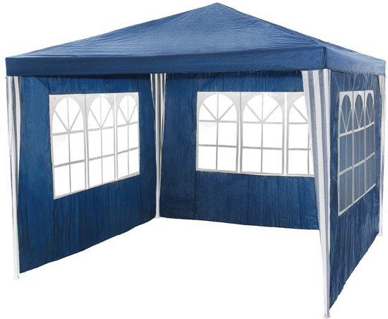 Paviljoen partytent blauw - 3 zijwanden - 3 x 3 m