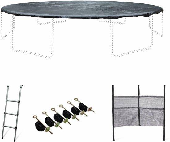 Accessoire set voor trampoline Ø490cm met ladder, beschermhoes, opbergnet voor schoenen en verankeringskit