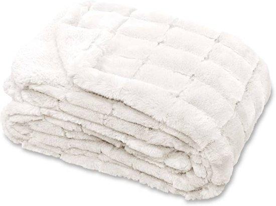 Unique Living Xavi - Fleece plaid - 130x160 cm - Off white