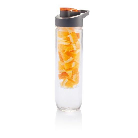 Loooqs Waterfles met infuser - Oranje - 0.8 l