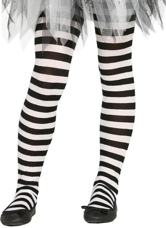 Wit/zwart gestreepte panty 15 denier voor meisjes