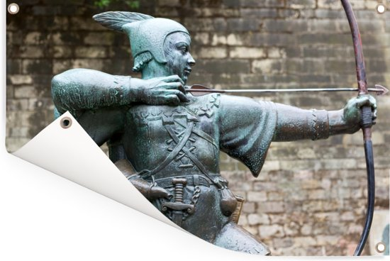 Standbeeld van Robin Hood in Nottingham Tuinposter 120x80 cm - Tuindoek / Buitencanvas / Schilderijen voor buiten (tuin decoratie)
