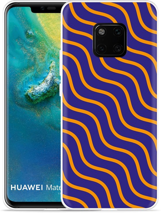 Huawei Mate 20 Pro Hoesje blauw oranje lijnen