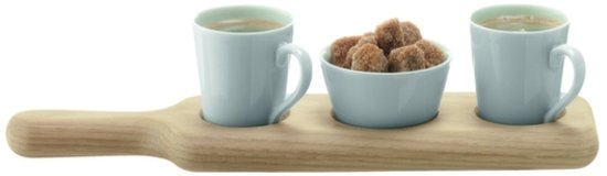 LSA Paddle Duo Espresso Set - Met Houten Dienblad - Set van 3 Stuks - Wit