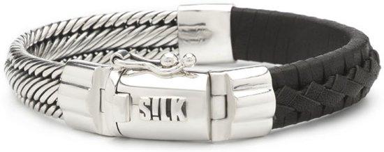 SILK Jewellery - Zilveren Armband - Weave - 741BLK.19 - zwart leer - Maat 19