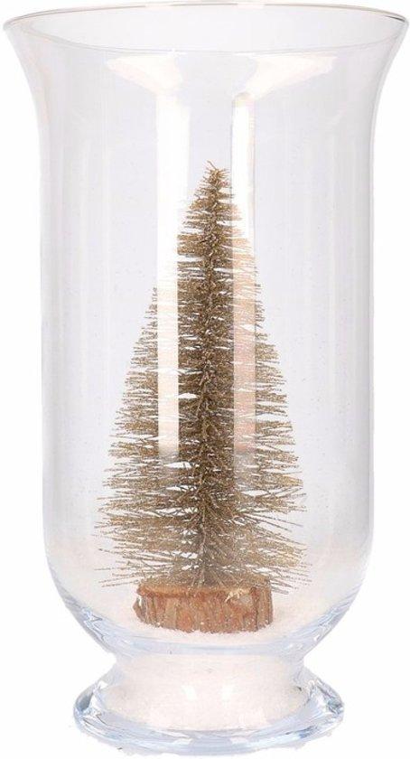 Kerst woondecoratie vaas met glitter boompje brons Valentinaa