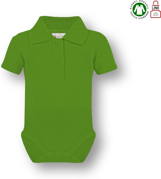 Link Kidswear baby rompertje met korte mouw en polokraag - Lime groen - Maat 74/80