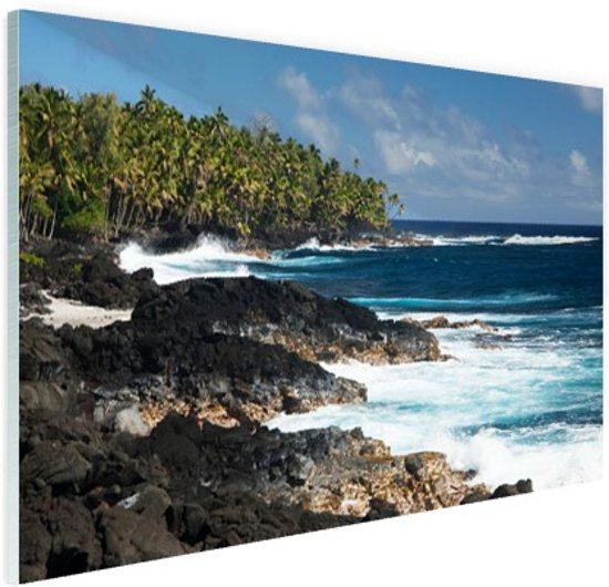 Lavakust in Oceanie Glas 120x80 cm - Foto print op Glas (Plexiglas wanddecoratie)