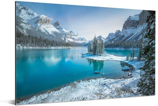 Winterlandschap in het Nationaal park Jasper in Noord-Amerika Aluminium 120x80 cm - Foto print op Aluminium (metaal wanddecoratie)