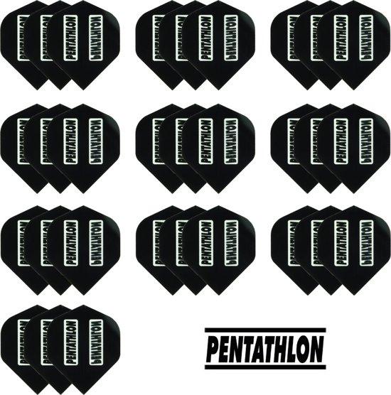 Dragon Darts - 10 sets (30 stuks) Pentathlon darts flights - zwart - incl. 10 sets (30 stuks) - medium - darts shafts - zwart
