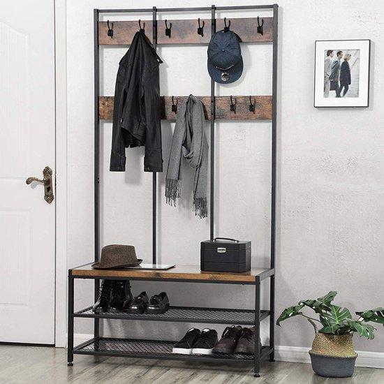 XL Garderoberek met Kapstok in Hout en Metaal - Staande Kapstok en Schoenenrek - 12 Haken - 100x40x186cm - Zwart / Bruin