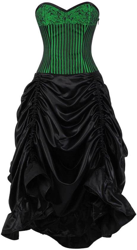 d908e195550f9d Groen   zwart staal balein dames corset jurk in maat XL