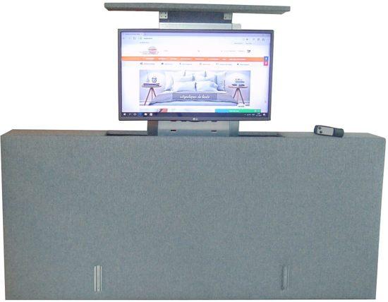 slaaploodsnl voetbord met tv lift 180x80x20 cm grijs
