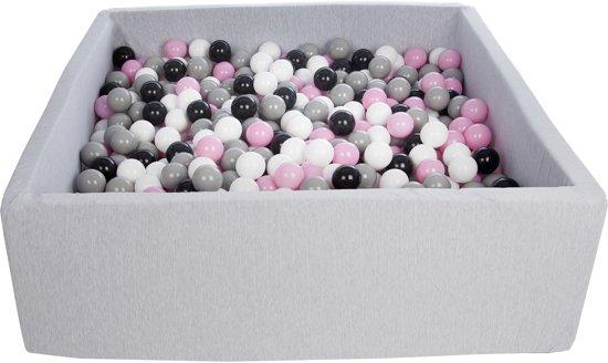 Zachte Jersey baby kinderen Ballenbak met 900 ballen, 120x120 cm - zwart, wit, lichtroze, grijs