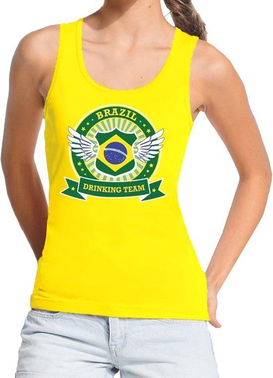 Geel Brazil drinking team tanktop / mouwloos shirt geel dames - Brazilie kleding L