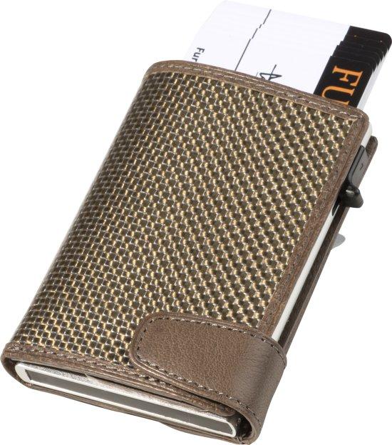 ae1025a6a6a Tony Perotti - Furbo titanium kaarthouder met papier- en kleingeldvak -  Taupe