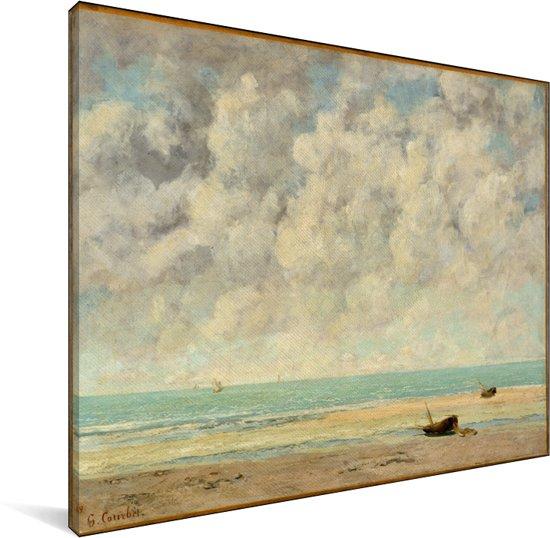 De kalme zee - Schilderij van Gustave Courbet Canvas 40x30 cm - klein - Foto print op Canvas schilderij (Wanddecoratie woonkamer / slaapkamer)
