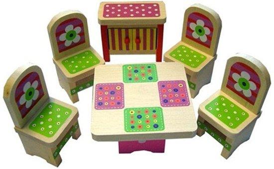 Houten poppenhuis meubeltjes voor 4 kamers CT