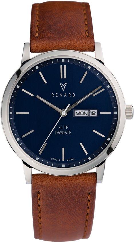 Renard Elite Day Date Blue Peacan RD381SS40PCN - Horloge - Leer - Bruin - 38,5mm