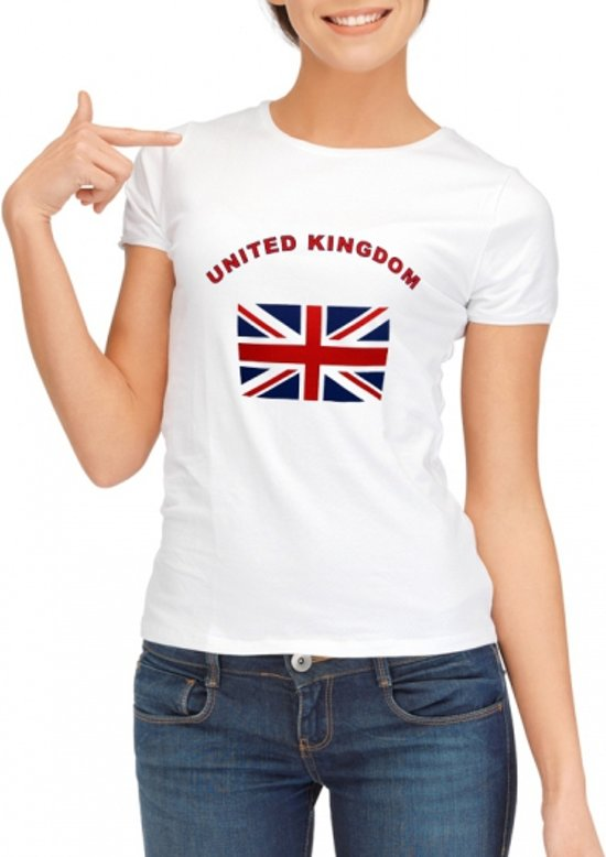 Wit t-shirt United Kingdom voor dames XL