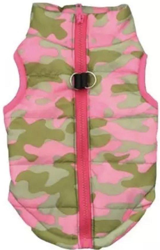 Body warmer voor honden - Honden bodywarmer - Maat L - Leger print roze
