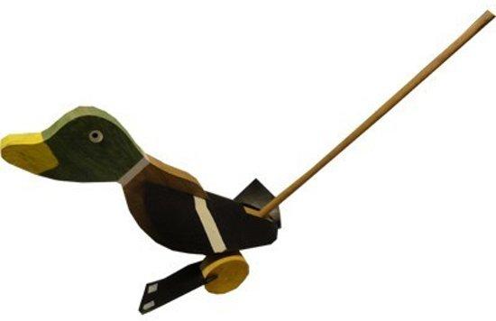 Loopstok Eend - loopeend van hout - Nostalgisch houten speelgoed -