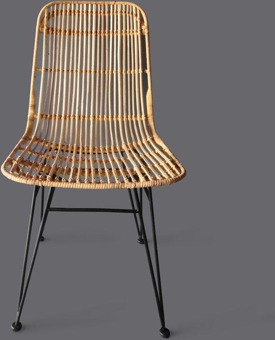 Moods lilly stoel rotan naturel zwart for Rotan eettafel stoel