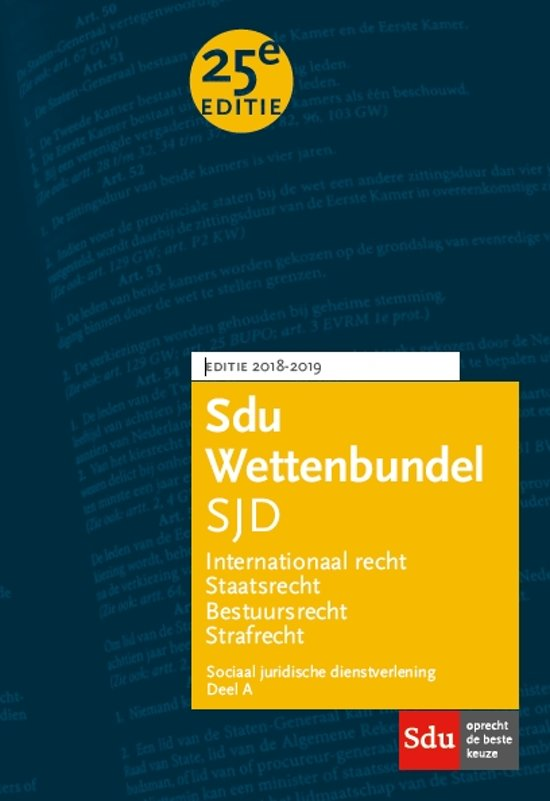 Educatieve wettenverzameling - Sdu Wettenbundel (set 2 ex) Sociaal Juridische Dienstverlening 2018-2019 - Sdu Uitgevers