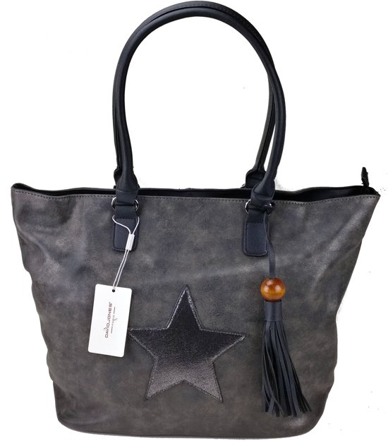 David Jones STER Schoudertas Handtas Shopper Trendy Ruime Tas Antraciet Zwart