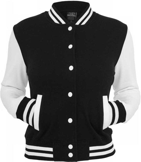 Wonderlijk bol.com | College baseball dames jas met witte mouwen zwart/wit XW-63