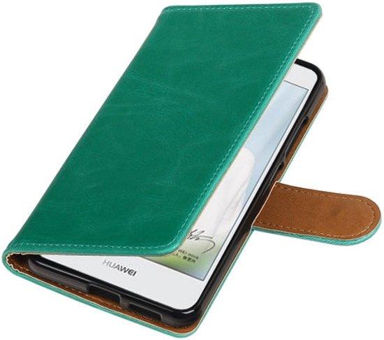 BestCases.nl Groen Pull-Up PU booktype wallet cover cover voor Huawei Nova Plus in Leuvenum