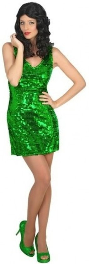 Groen disco verkleed jurkje voor dames - carnavalskleding - voordelig geprijsd XS/S (34-36)