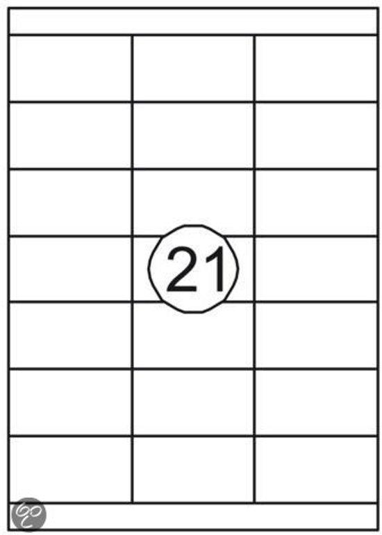 Benza Zelfklevende Etiketten op A4 Vel - 70 x 38,1 mm - 21 stickers per vel - 10 vel